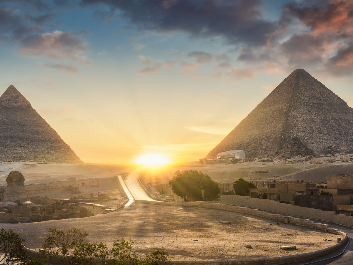 sunset of pyramids