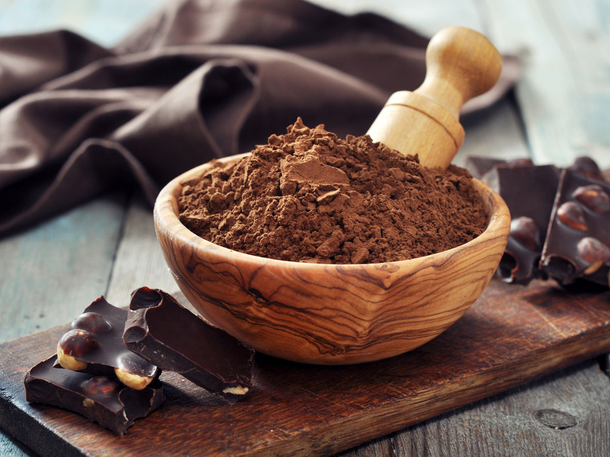 carob in a wooden bowl