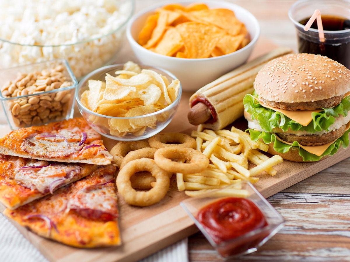 junk food pizza burger chips