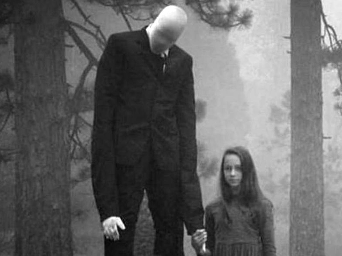 The Slender Man with a child