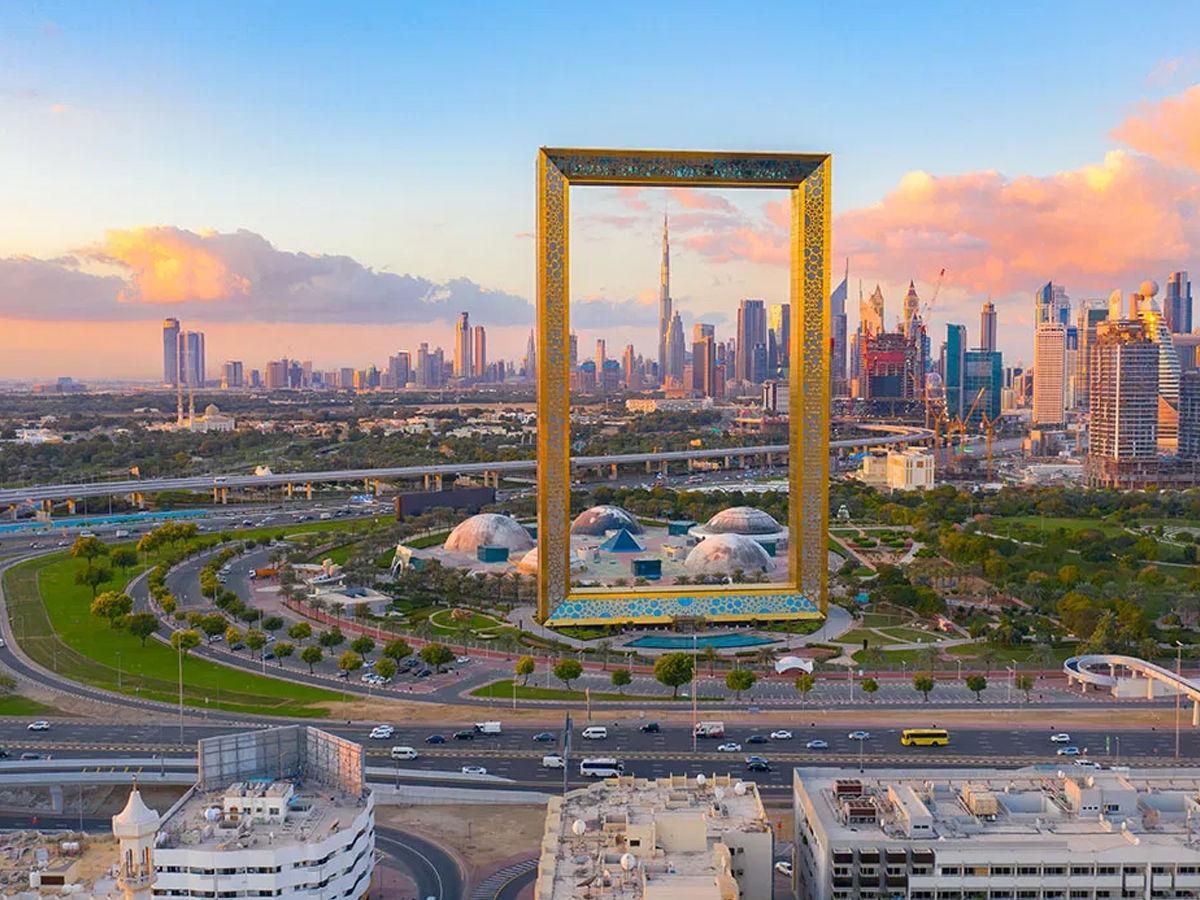 the view of burj khalifa from dubai frame