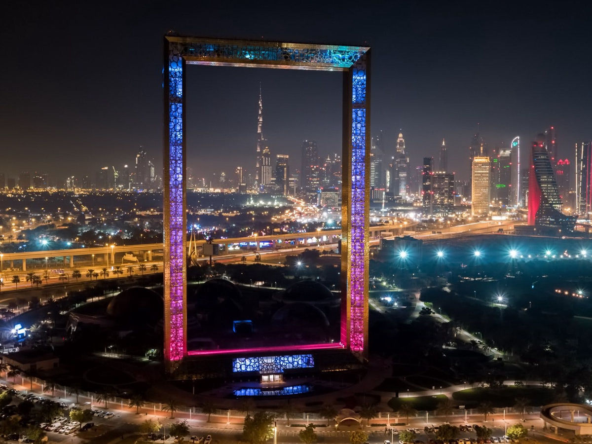 The view of Dubai Frame in night