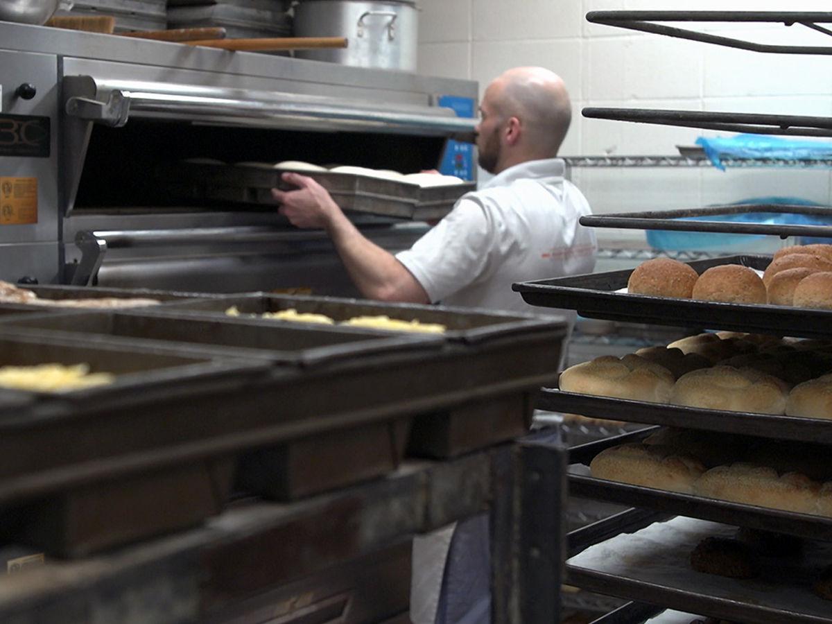 Baker baking bread