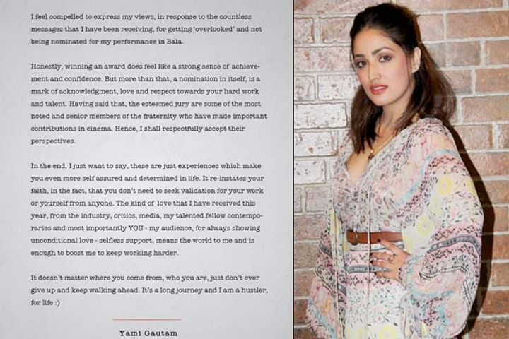 Yami Gautam OPEN-LETTER After Not Winning Filmfare Award For Bala