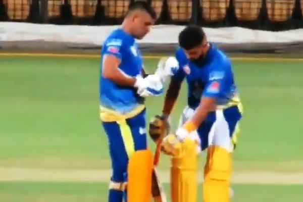 Suresh Raina accidentally hits MS Dhoni  leg, video goes viral