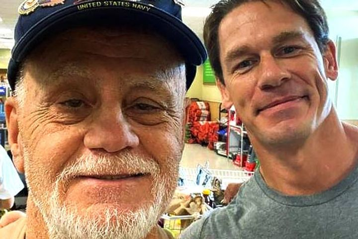 John Cena Surprises Retired Veteran by Paying His Grocery Bill and Snapping a Selfie