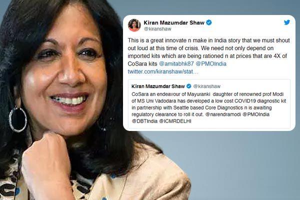 Professor daughter makes cheap corona test kit and Kiran Mazumdar praised