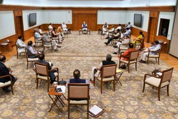 PM Modi Cabinet ministers exercise social distancing during cabinet meeting
