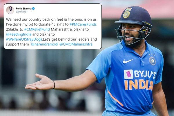 Rohit Sharma donates Rs80 lakh in fight against the pandemic