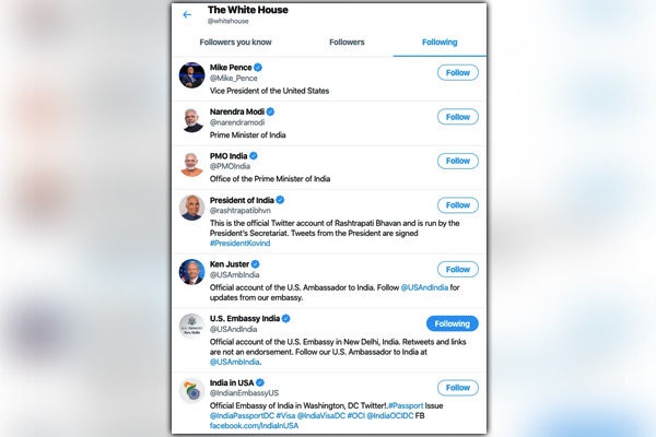 PM Modi only world leader followed by White House on Twitter White House follows President Kovind to
