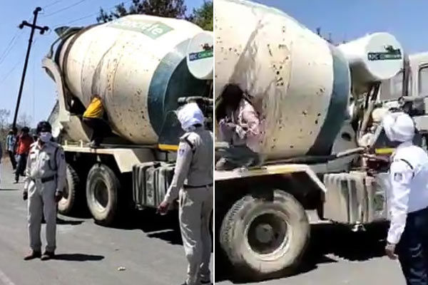 18 migrant workers trying to go back home, found stuffed in concrete mixer on a highway in MP