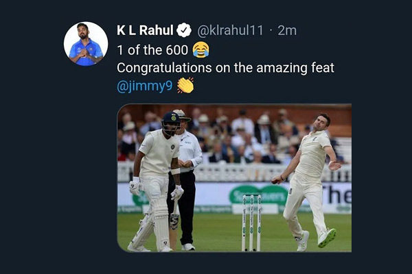 1 of the 600 KL Rahul trolls himself while congratulating James Anderson later deletes tweet
