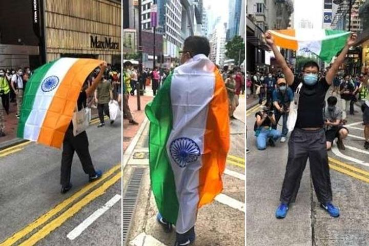 Indian Flag in Hong Kong