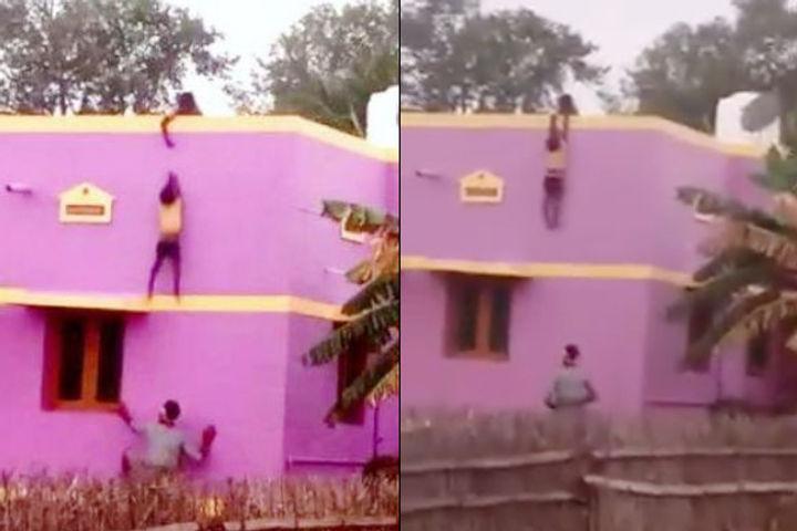 Street vendor saves boy falling from terrace