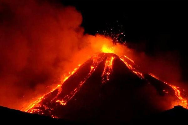 Mount Etna Volcano erupts