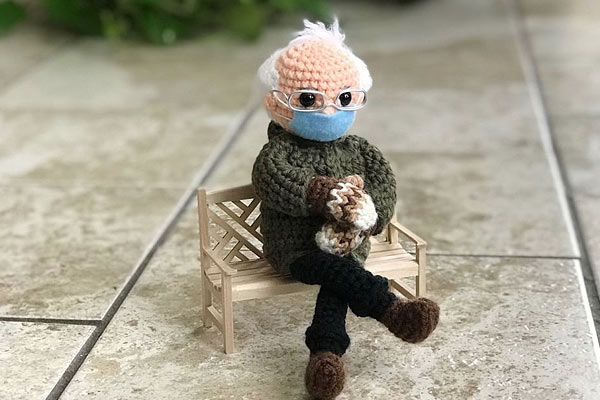 Crochet doll of Bernie Sanders