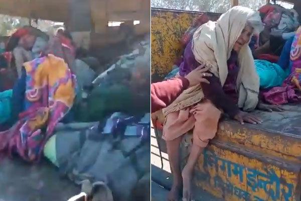 Municipal workers dumping homeless