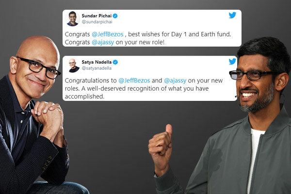 Sundar Pichai's tweet after Jeff Bezos steps down