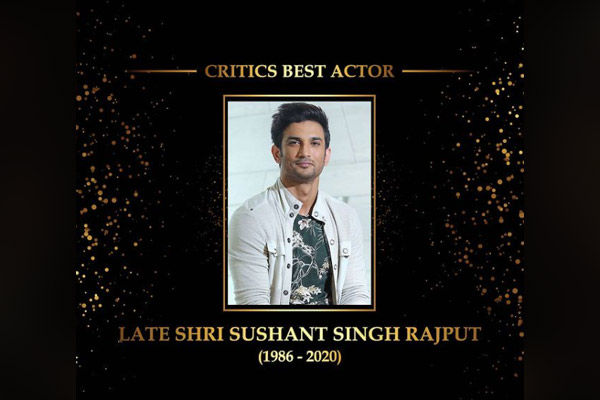 Dadasaheb Phalke Award Sushant was awarded by the Critics Best Actor Award the award for the last fi