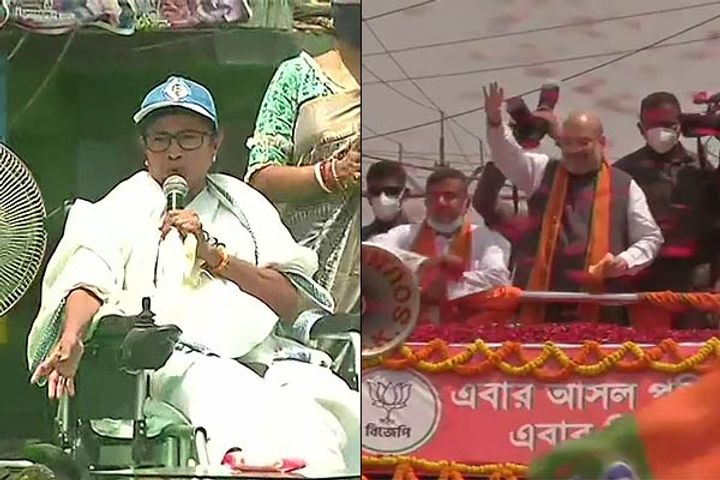 Shahs roadshow after Mamatas padyatra Suvendu Adhikari also present