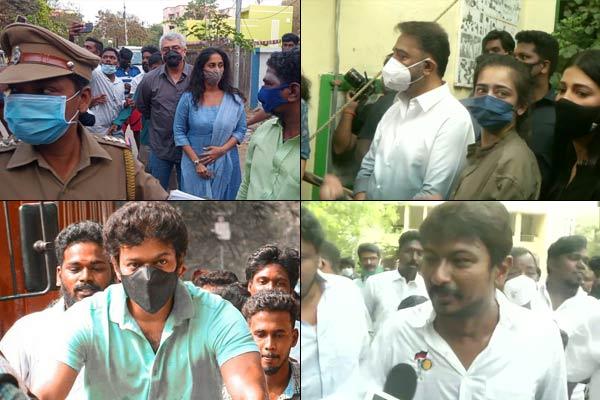 Tamil Nadu assembly elections Kamal Haasan voted with daughters Thala Ajith and Thalapathy Vijay als