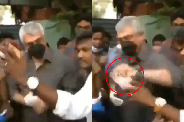 Tamil Superstar Ajith Kumar Snatches Fan Phone At Polling Booth For Not Wearing Mask