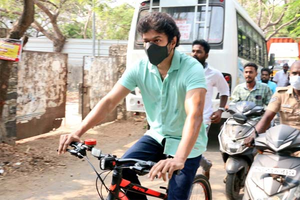Vijay Rides Bicycle To Cast His Vote In Tamil Nadu Assembly Elections and guesses starts