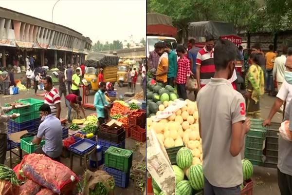 Corona rule in Punes APMC market stared