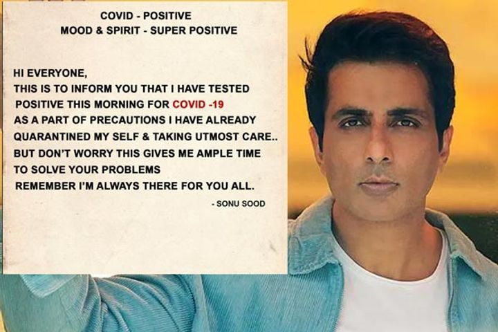 Actor Sonu Sood Tests Positive For COVID19 Self Isolates