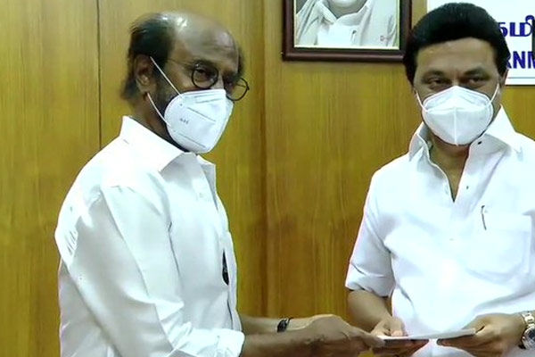 Rajinikanth handed over Rs 50 lakhs for COVID relief fund to MK Stalin