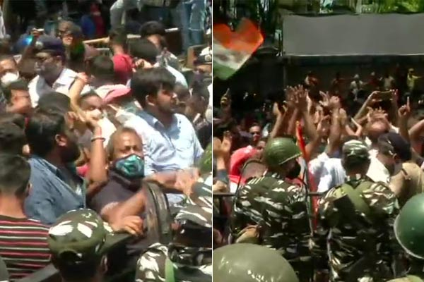 TMC supporters staged a protest outside the CBI office