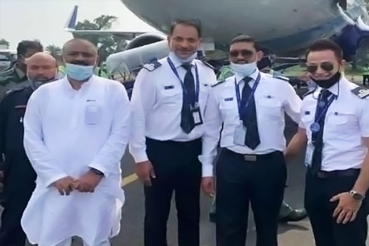 BJP MP Rajiv Pratap Rudy flew the plane, brought the first IndiGo flight from Kolkata to Darbhanga