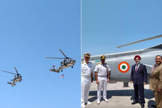 US Navy handed over two MH 60 R multirole helicopters to the Indian Navy
