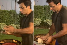 Sonu Sood shared the video on Instagram the actor was seen making roti