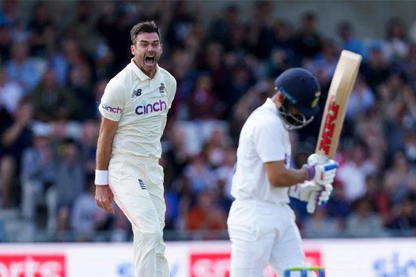 James Anderson on celebration after Kohli wicket