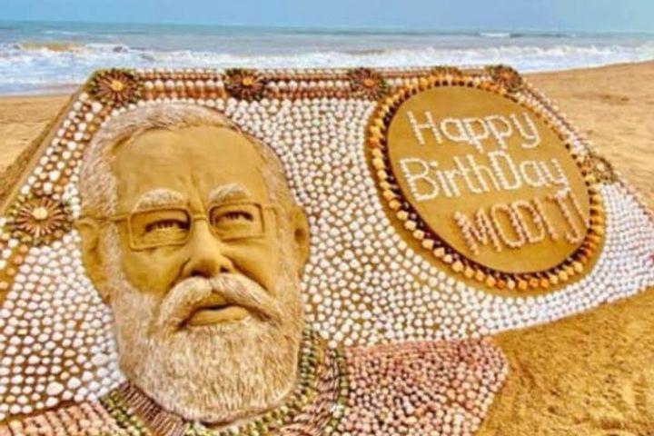 PM Modi&amprsquos sand sculpture with
