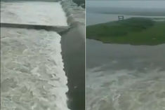Gates of Ukai Dam opened to release water in Tapi river in Surat