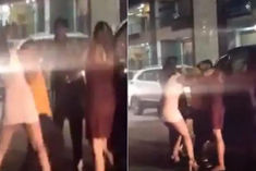 Girl Beating Up In Front Of Sky Hilton